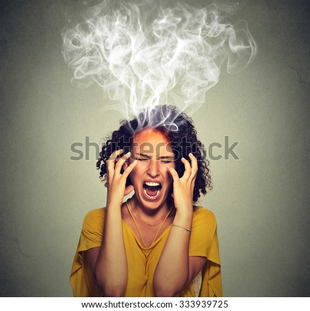 Very angry pissed off woman screaming steam smoke coming out up of head. Negative human emotions, feelings face expression  - stock photo