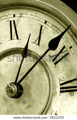 Very antique grunge clock face with hands