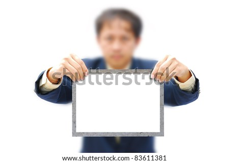 Very attractive artwork of asian businessman working with modern screen. - stock photo