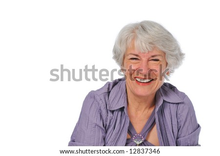 Very attractive Senior lady smiling isolated on white - stock photo