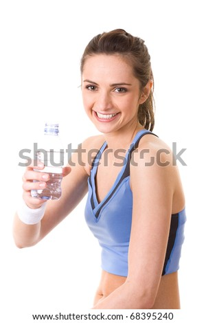 very attractive, young and fit woman holds full bottle of water, studio shoot isolated on white