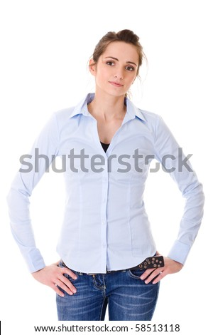 very attractive young woman in blue shirt, studio shoot isolated on white background - stock photo