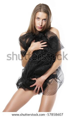 Very beautiful and sexual half-dressed woman with long hair - stock photo