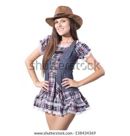 very beautiful and sexy country and western girl or woman - stock photo