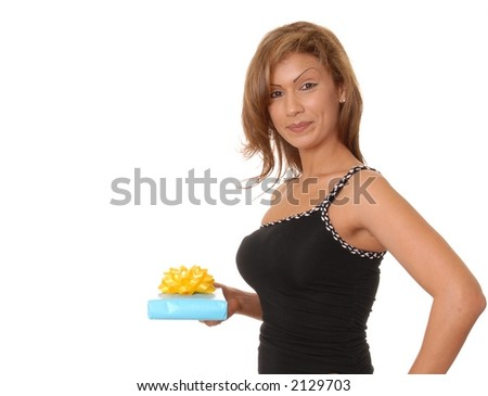 Very Beautiful and sexy young girl holding a gift