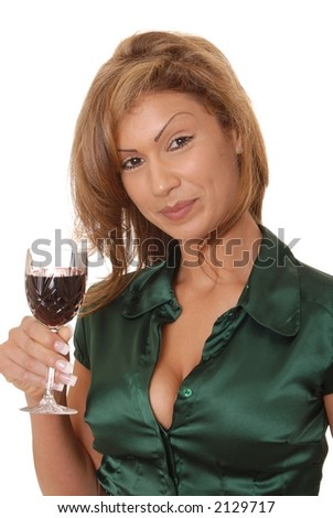 Very Beautiful and sexy young girl holding a glass of wine