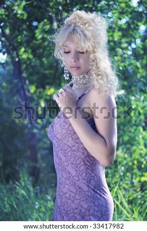Very beautiful blonde girl - stock photo
