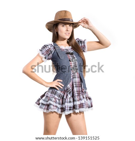 very beautiful country and western girl in line dance theme - stock photo