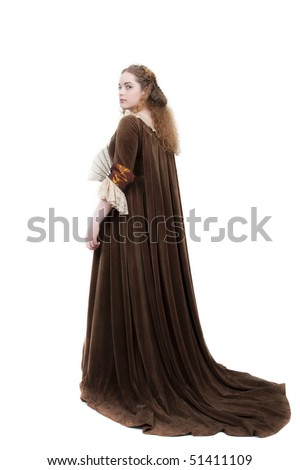 Very beautiful girl in medieval dress style 1700s 1600s - stock photo