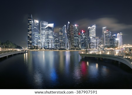 very beautiful midnight and light up of central business district Singapore - stock photo