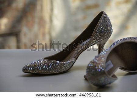 very beautiful pink diamond high-heeled shoe - stock photo