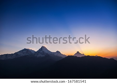 Very beautiful surise in Himalaya mountains, Nepal - stock photo