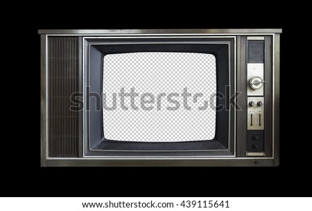 very beautiful vintage television isolated on black background with clipping path - stock photo