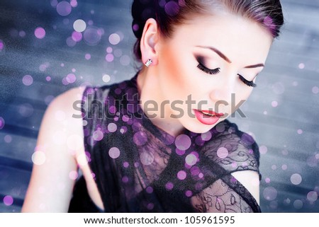 very beautiful woman wearing make-up - stock photo