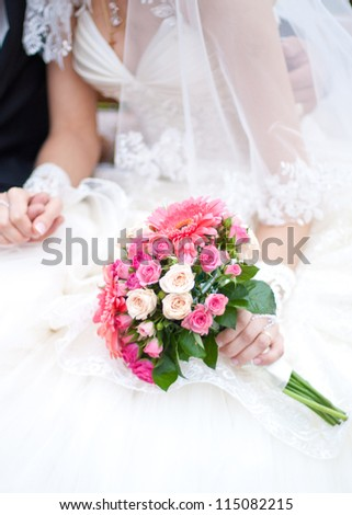 very beauty wedding bouquet with pink flowers