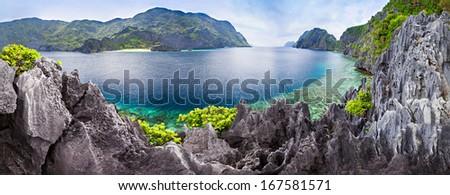 Very beautyful lagoon in the islands, Philippines - stock photo