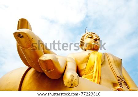 Very big Golden Buddha and Blue Sky - stock photo