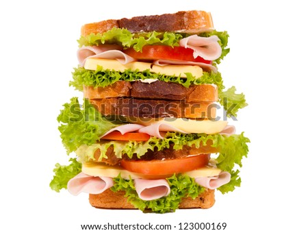 Very big sandwich isolated on white background - stock photo
