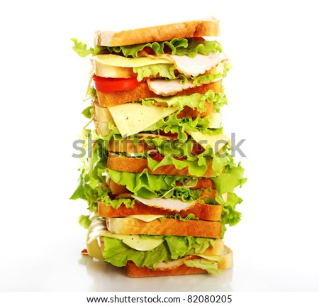 Very big sandwich isolated over white background - stock photo