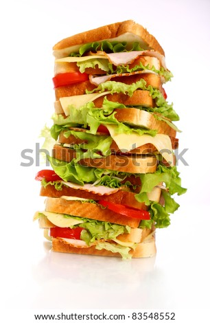 Very big sandwich isolated over white background