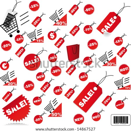 very big Set of red price tags - stock photo