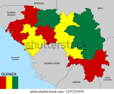 Very Big Size Guinea Political Map Stock Illustration 129725495
