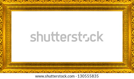 very big size large golden picture frame with white background clipping path included