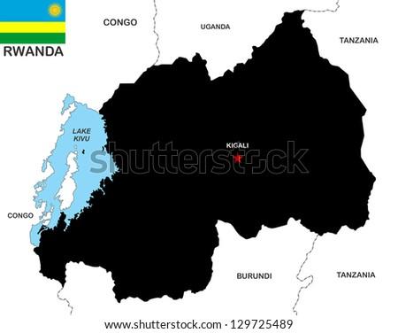 very big size rwanda black map with flag - stock photo