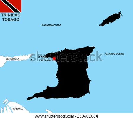 very big size trinidad tobago black map with flag