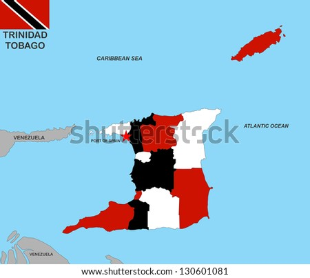 very big size trinidad tobago political map with flag
