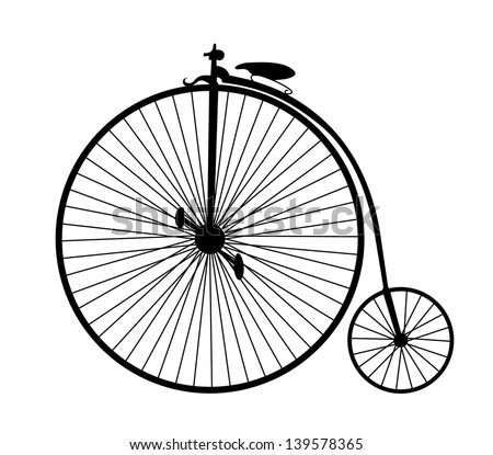 very big size vintage bicycle black silhouette - stock photo