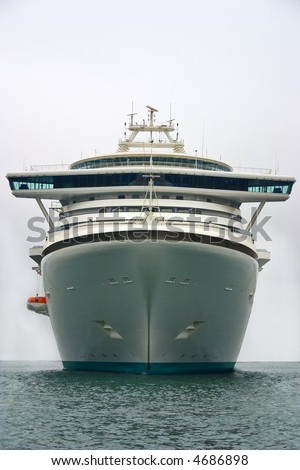 Very big tourist ship. Front view. - stock photo