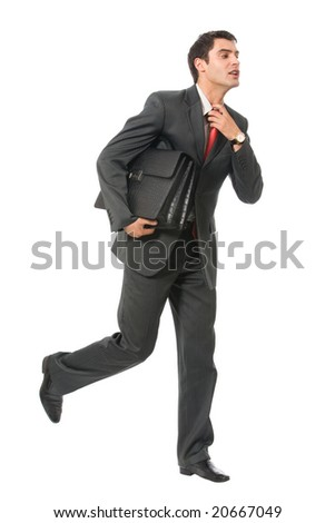 Very busy businessman with briefcase running to important meeting, isolated - stock photo