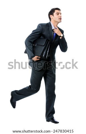 Very busy businessman with briefcase running to important meeting, isolated against white background