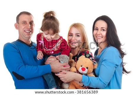 very cheerful full of family on a white isolated background - stock photo