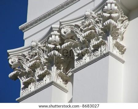 Very classic looking pillars, on the California State House, Sacramento. - stock photo