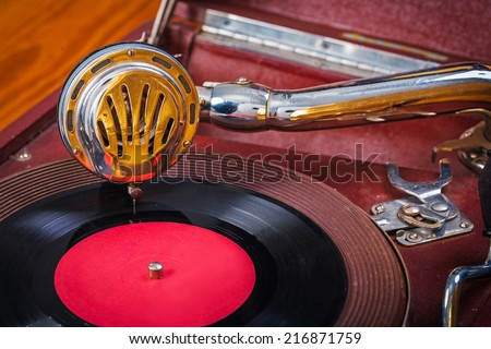 very close up view on gramophone - stock photo