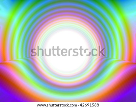 Very colorful abstract, showing a tunnel with light at the end - stock photo