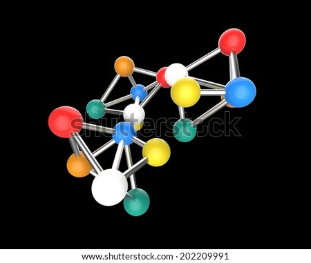 very colorful Molecular structure isolated in a black background. - stock photo