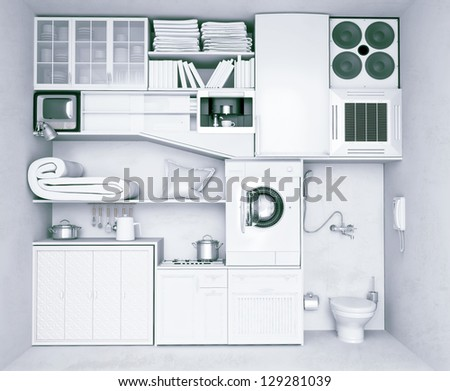 very compact flat ( concept) - stock photo