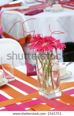 very cool and hip wedding table settings for a funky fresh young bride and groom. This is not your mama's wedding! One of several in this series. - stock photo