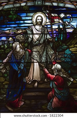 very crisp shot of a stained glass church window depicting jesus. - stock photo