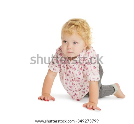 Very cute, adorable little blonde girl crawling on the floor - Isolated on white background - stock photo