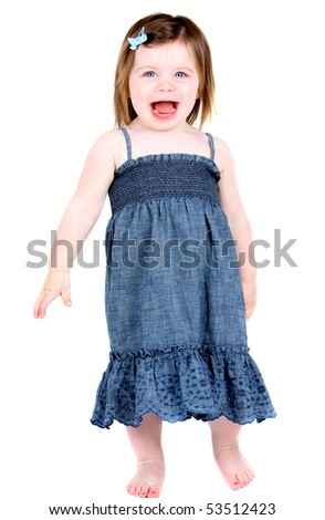 Very cute excited little girl - stock photo