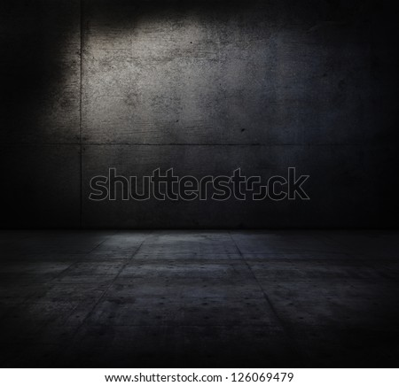 Very dark and dim concrete room. - stock photo