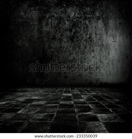 Very dark and dim stone or concrete room.  - stock photo