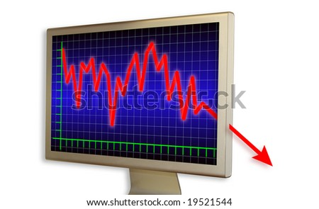 Very deep crisis on real computer monitor - stock photo