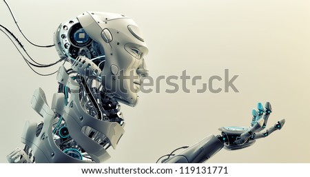Very detailed 3d robotic man gesturing / Asking cyborg - stock photo