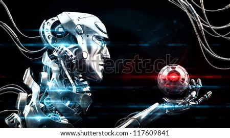 Very detailed 3d robotic man with optic ball / Stylish illuminated robot in profile with cam - stock photo