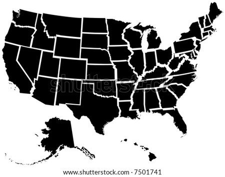 Very detailed file of all fifty states - stock photo